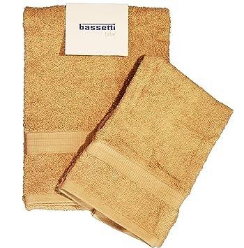 BASSETTI TIME - Juego de 2 toallas de algodón de 40 x 60 y
