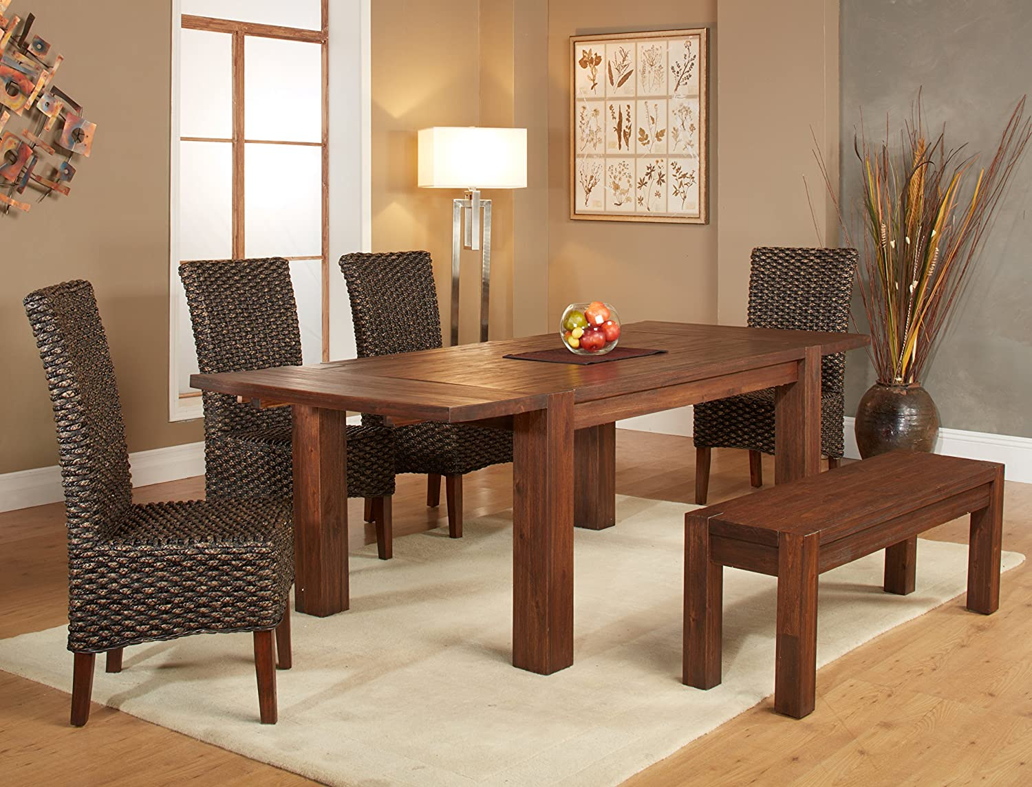 Amazon.com   Modus Furniture 3F4161 Meadow Solid Wood Extending Dining  Table, Brick Brown   Tables Part 31
