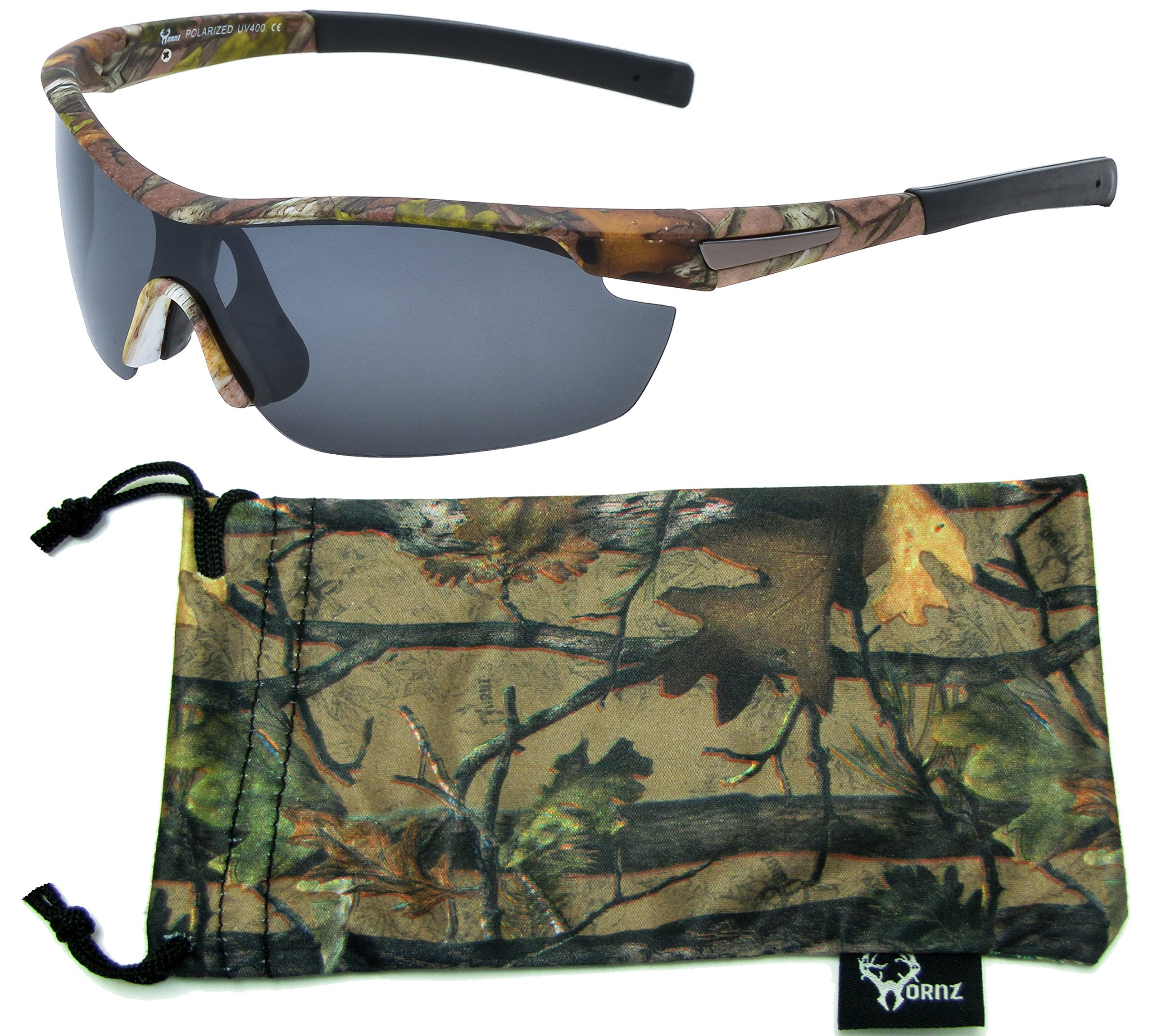 Hornz Brown Forrest Camouflage Polarized Sunglasses for Men Wrap Around Sport Frame & Free Matching Microfiber Pouch - Brown Camo Frame - Smoke Lens