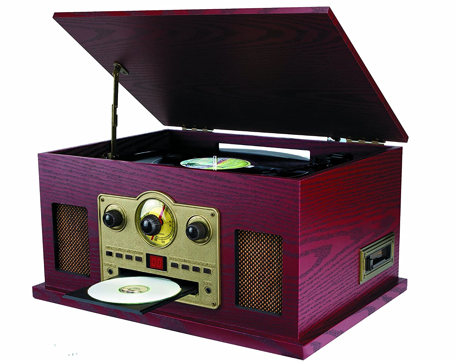 Sylvania SRCD838 5-in-1 Nostalgic Turntable with CD, Cassette, Radio, Aux-In