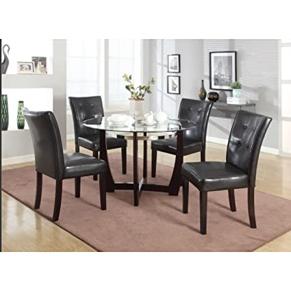 Roundhill Furniture Wesley 5 Piece Round Glass Top Dining Set, Cappuccino