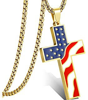 Hzman american flag patriotic cross religious jewelry enamel pendant lolias american flag patriotic cross pendant necklace for men women religious necklaces jewelry aloadofball Choice Image