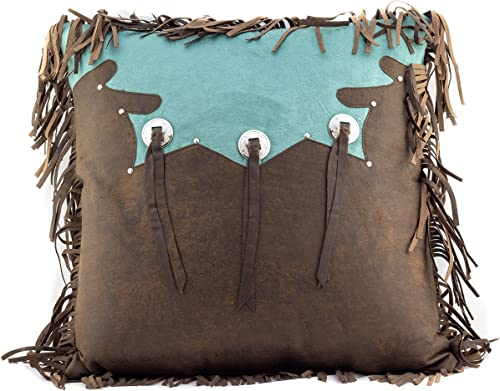 H H Designs Western Tooled Turquoise Triple Tassle Accent Throw Pillow