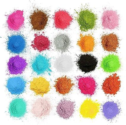 MOSUO Pigmentos en Polvo,5g*25 Colores Natural Mica Tintes para teñir Resina Epoxi, Jabones, Slime, Cera, Pintura, Vela, Uñas, Cosmético y Arte de ...