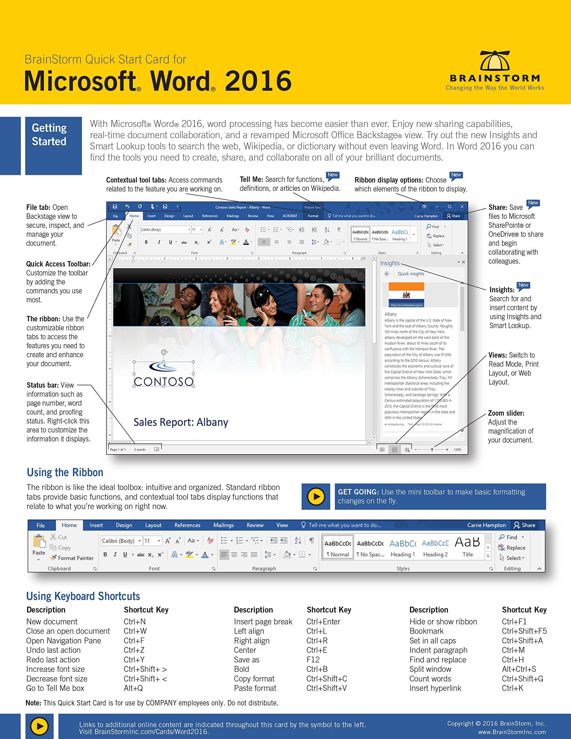 Microsoft Word 20 Quick Start Card   Tips Tricks Shortcuts Help ...