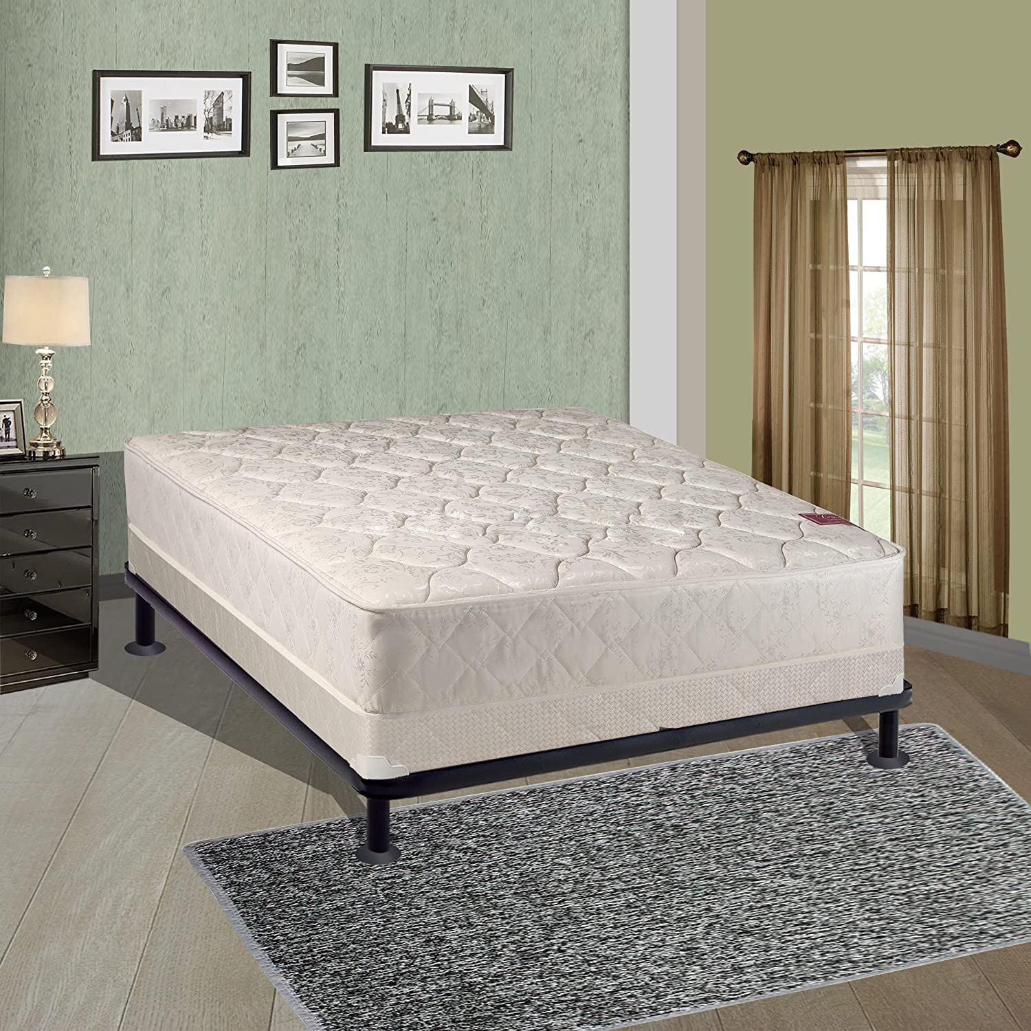 Continental Sleep Elegant Collection Twin Size Mattress Set with Firm Mattress and Low Profile Box Spring 99-3/3-2LP