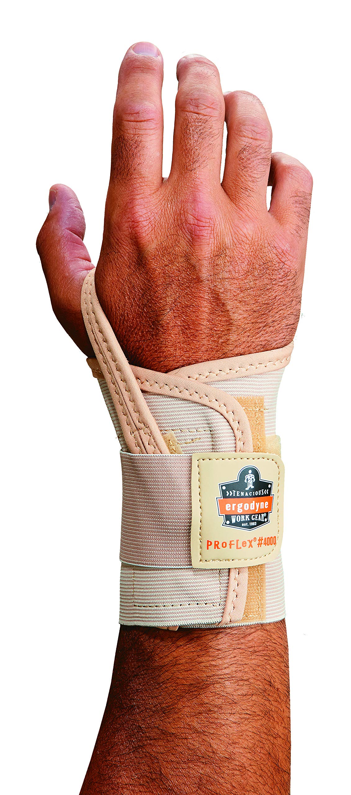 Ergodyne ProFlex 4000 Single Strap Wrist Support, Tan - Small, Left Hand