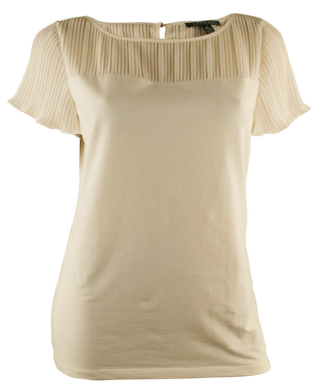 Lauren Ralph Lauren Women's Flutter-Sleeve Pleated Illusion Top, Pearl