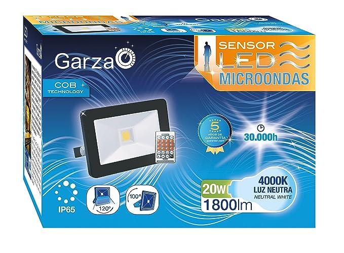 Garza Foco proyector Exterior LED con Sensor de Movimiento microondas E27, 20 W, Negro