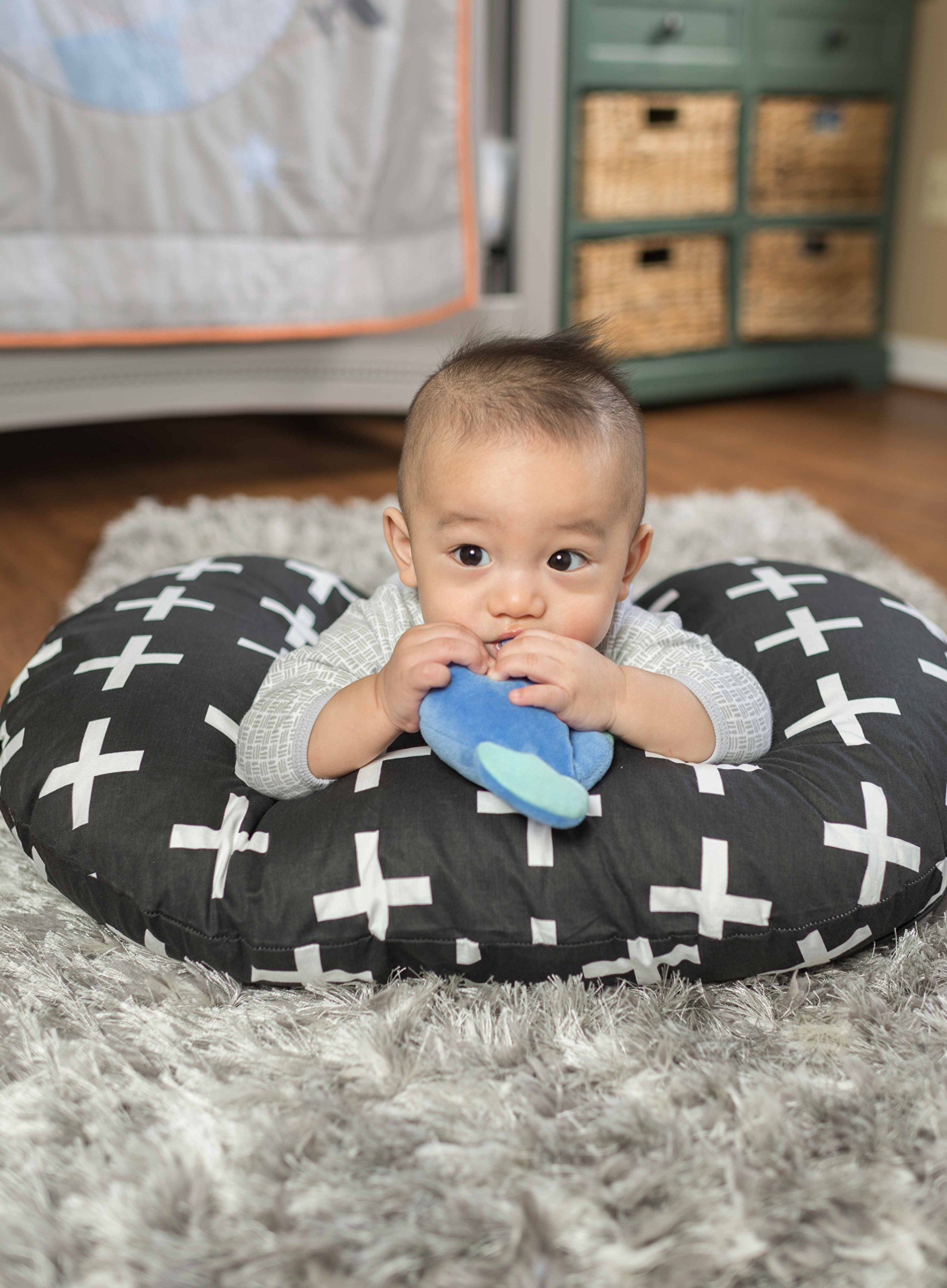 Premium Quality Nursing Pillow Cover by Mila Millie - Nordic Swiss White Cross Unisex Design Slipcover - 100% Cotton Hypoallergenic - Perfect for Breastfeeding Mothers - Baby Shower Gift by Mila Millie (Image #6)