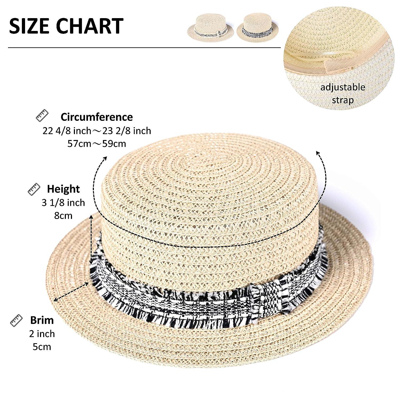 88a24a9dd accsa Women UPF50+ Protection Sweatband Adjustable Drawstring Paper Straw  Fedora Boater Panama Sun Hat