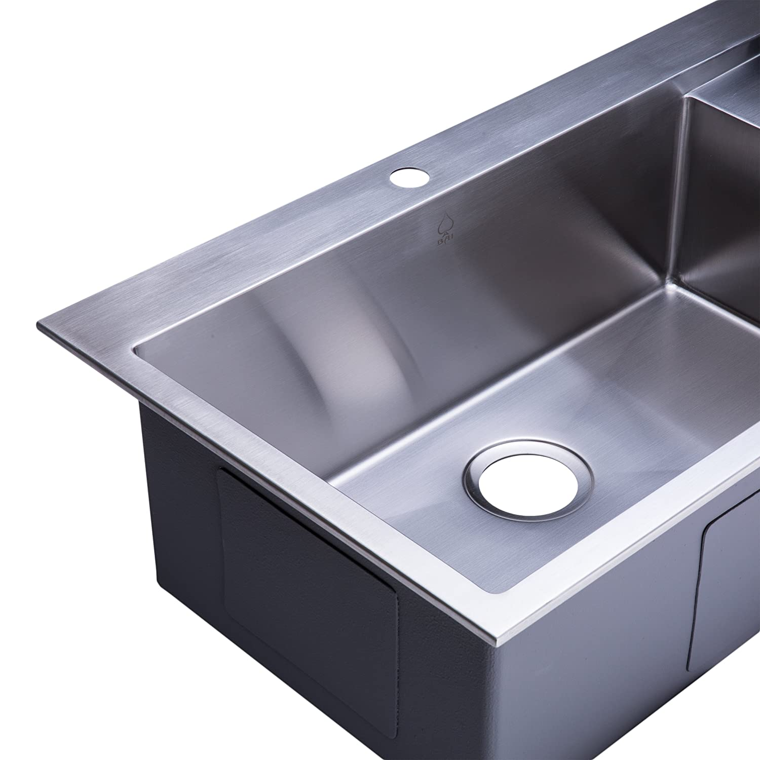 bai 1233   48   handmade stainless steel kitchen sink single bowl with drainboard top mount 16 gauge     amazon com bai 1233   48   handmade stainless steel kitchen sink single bowl      rh   amazon com