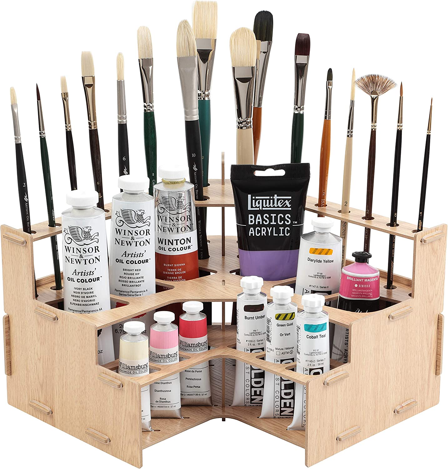 #001 Mezzo Artist Brush and Paint Tube Organizer Rack Multi-Layer Storage Display Stand for Paintbrushes Oil /& Acrylic Paints Wood-Grain Laminate