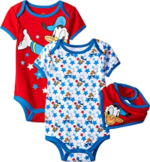 b4120c5b2415 Disney Baby Boys' Mickey Mouse or Donald Duck 2-Pack Bodysuit with Bib