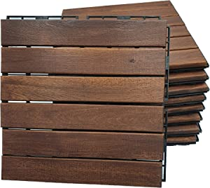 "Acacia Hardwood Interlocking Floor Tiles - for Patio and Deck Use, 11.8"" x 11.8"", Natural Wood Outdoor Decking and Flooring, Rain and Weather Resistant, Heavy Duty (Brown)"