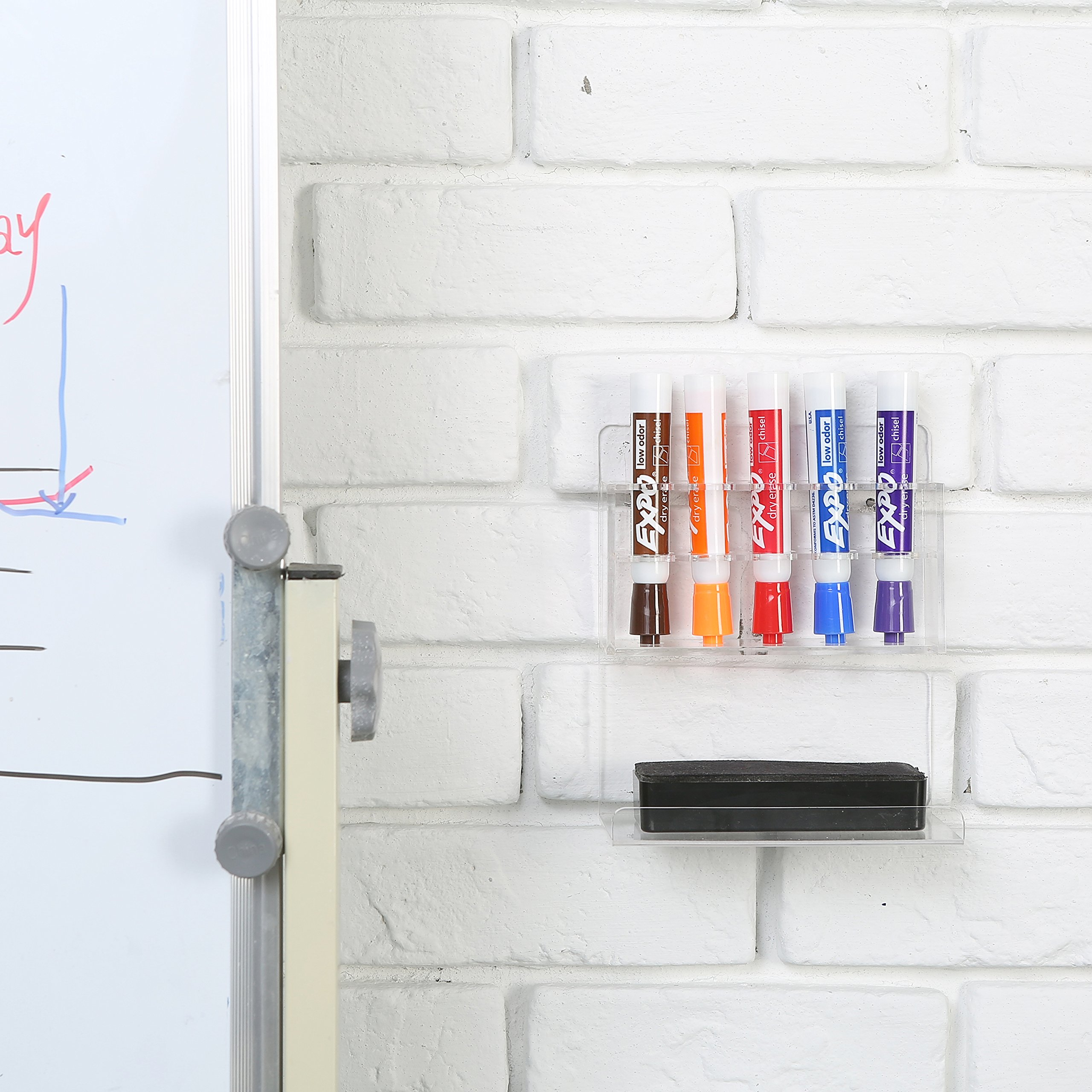 MyGift Clear Acrylic Wall Mounted 5 Slot Dry Erase Marker and Eraser Organizer Holder Rack, Set of 2 by MyGift (Image #3)
