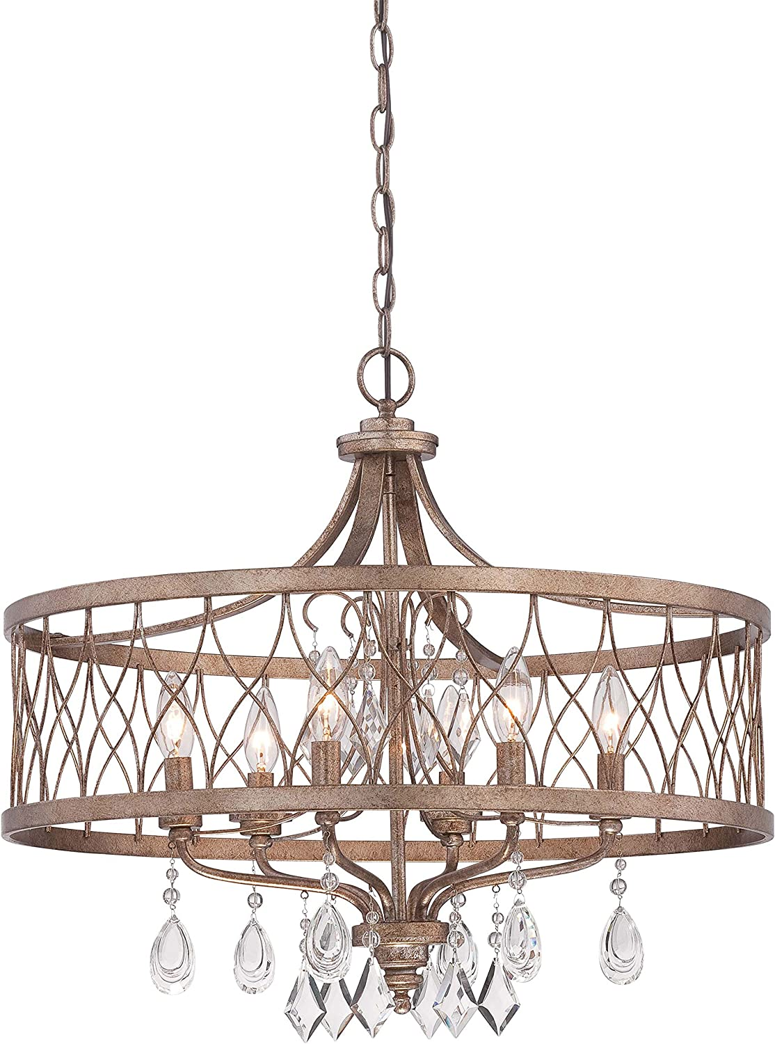 Minka Lavery 4406-581 West Liberty 1 Tier Dining Room Crystal Chandelier Pendant Lighting, 6 Light, 360 Watts, Olympus Gold