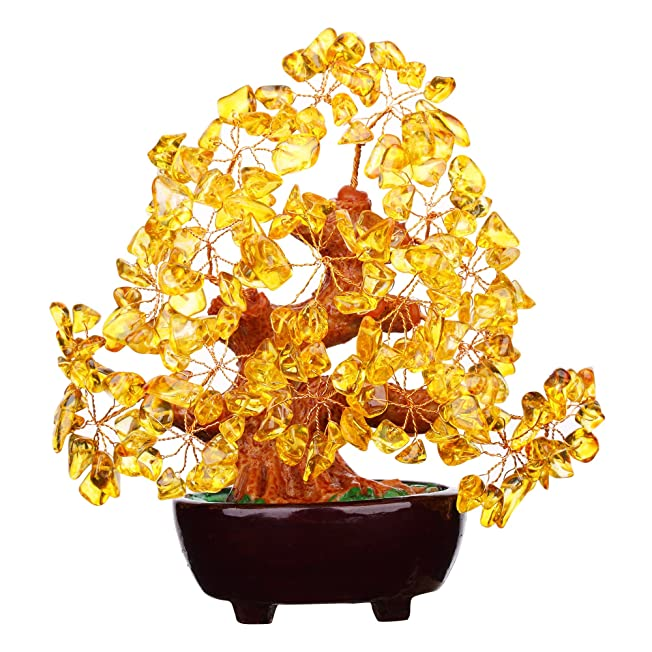 Feng Shui Natural Citrine Gem Stone Money Tree 7 Inch