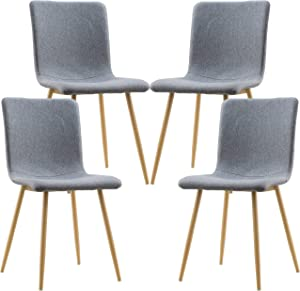 Poly and Bark Wadsworth Fabric Dining and Kitchen Side Chair with Metal Legs in Natural Wood Color, Grey (Set of 4)