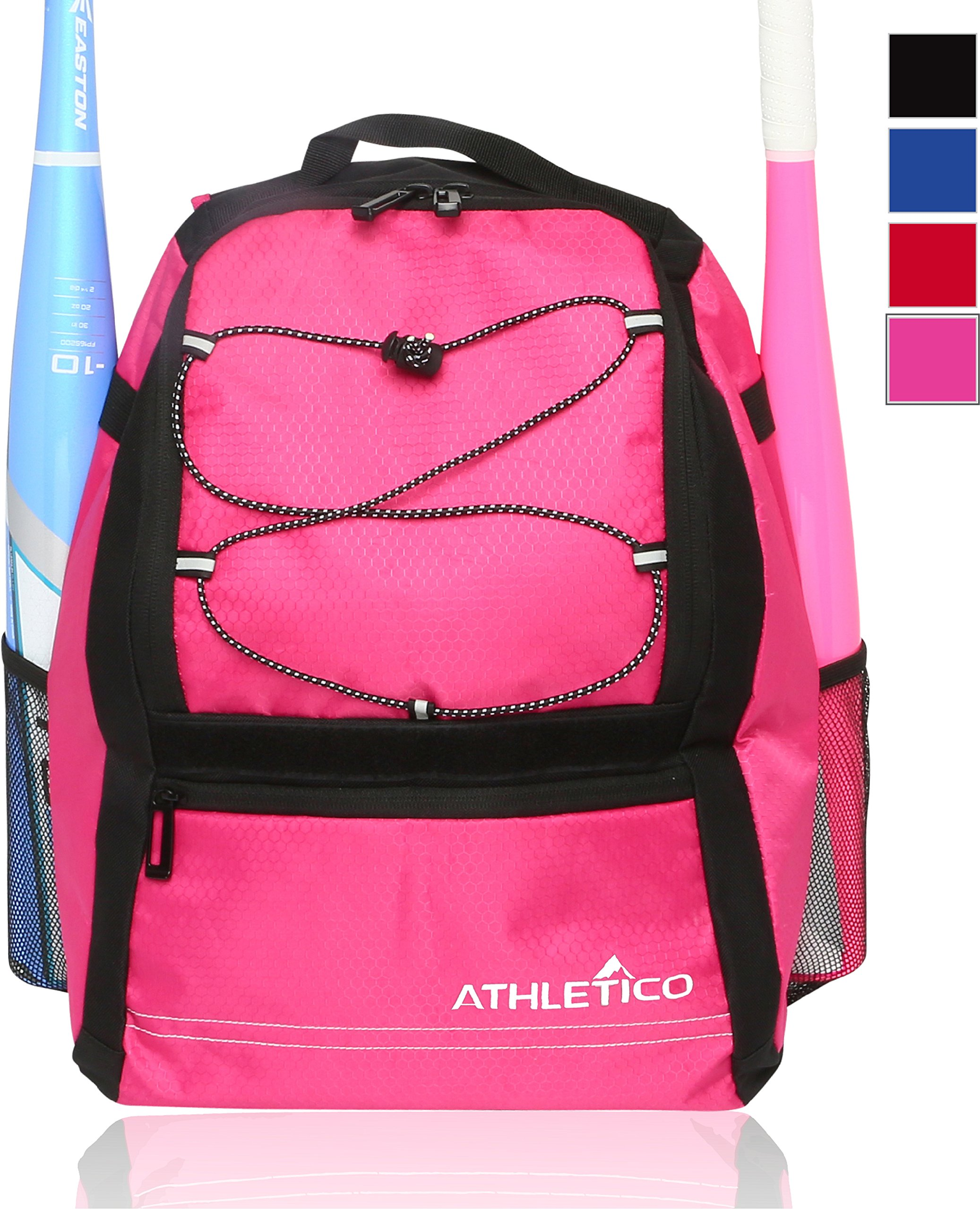 Athletico Youth Baseball Bag - Bat Backpack for Baseball, T-Ball & Softball Equipment & Gear | Holds Bat, Helmet, Glove | Fence Hook (Pink) by Athletico