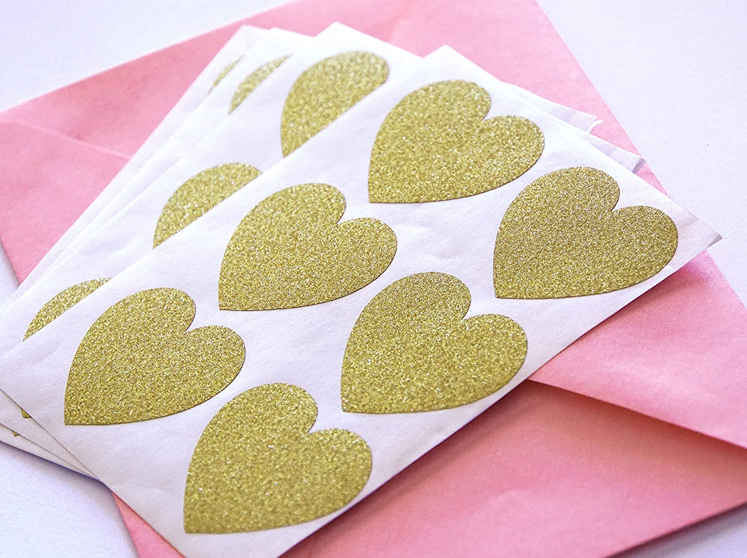 48 Glitter Stickers Rose Gold Hearts