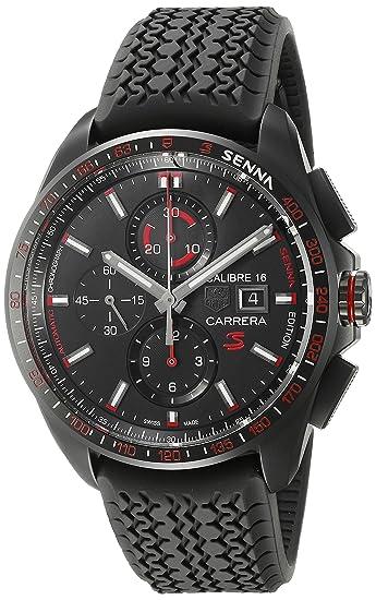 4abe38383ba99 Amazon.com  TAG Heuer Men s  Carrera Senna  Swiss Automatic Titanium and  Rubber Dress Watch