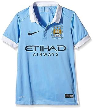 Nike 1ª Equipación Manchester City 2015/2016 - Camiseta Oficial niño, Color Azul/