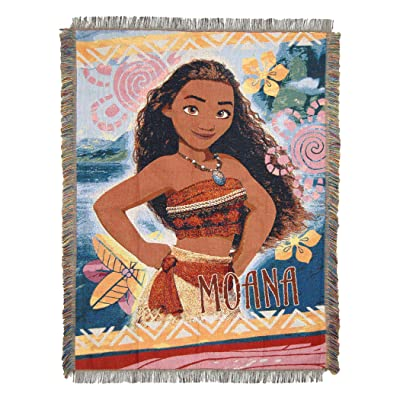 "Disney's Moana, ""Island Girl"" Woven Tapestry Throw Blanket, 48"" x 60"", Multi Color: Home & Kitchen"