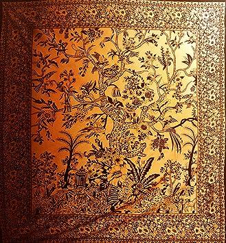 Noir Et Orange Coton Arbre De Vie Xl Canape Lit King Size Housse