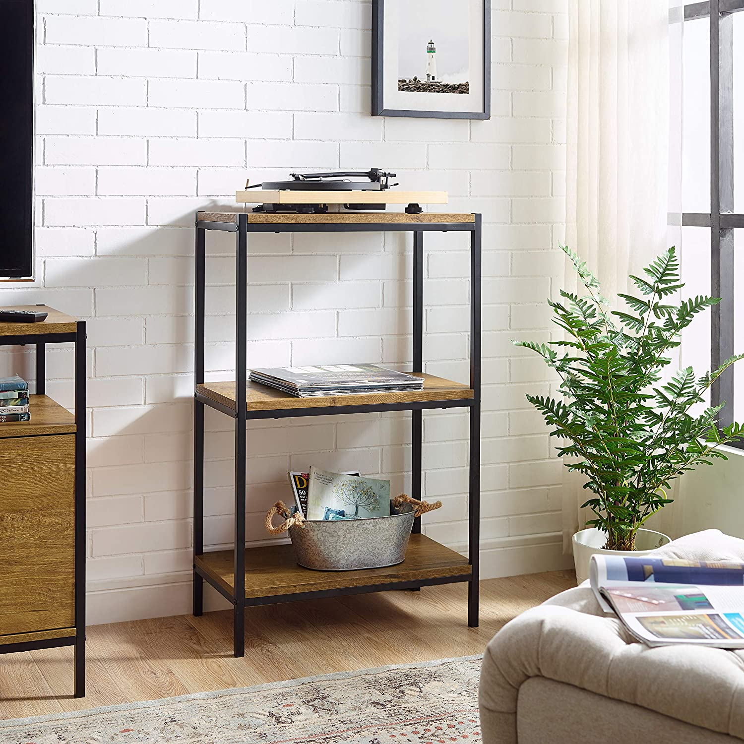 3 Tier Bookshelf by CAFFOZ Furniture Designs Rustic Industrial Bookcase with Modern Open Shelves Oak Brown Wood Look Accent Furniture Metal Frame Storage Rack Shelf Unit Bathroom Living Room