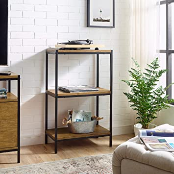3 Tier Bookshelf by CAFFOZ Furniture Designs Rustic Industrial Bookcase  with Modern Open Shelves | Oak Brown Wood Look Accent Furniture Metal Frame  | ...