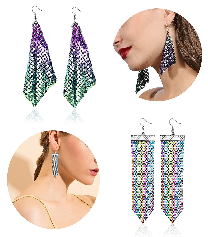 Hanpabum Mesh Earrings Long Drop Dangle Earrings Bohemian Statement Sequin Earrings Set Hook Earrings For Women