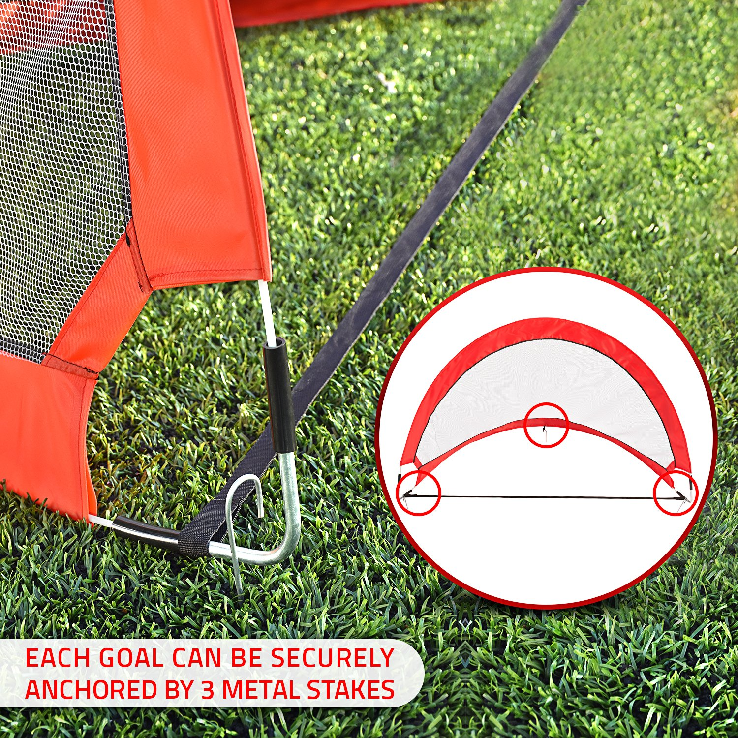 Abco Tech Portable Soccer Goal Set for Training, Practice & Game – Pop-up Soccer Net – 2 Soccer Goals, 6 Disc Cones & 8 Spikes – Carry Bag – Easy to Assemble & Store – Be it Backyard or Public Fields by Abco Tech (Image #7)