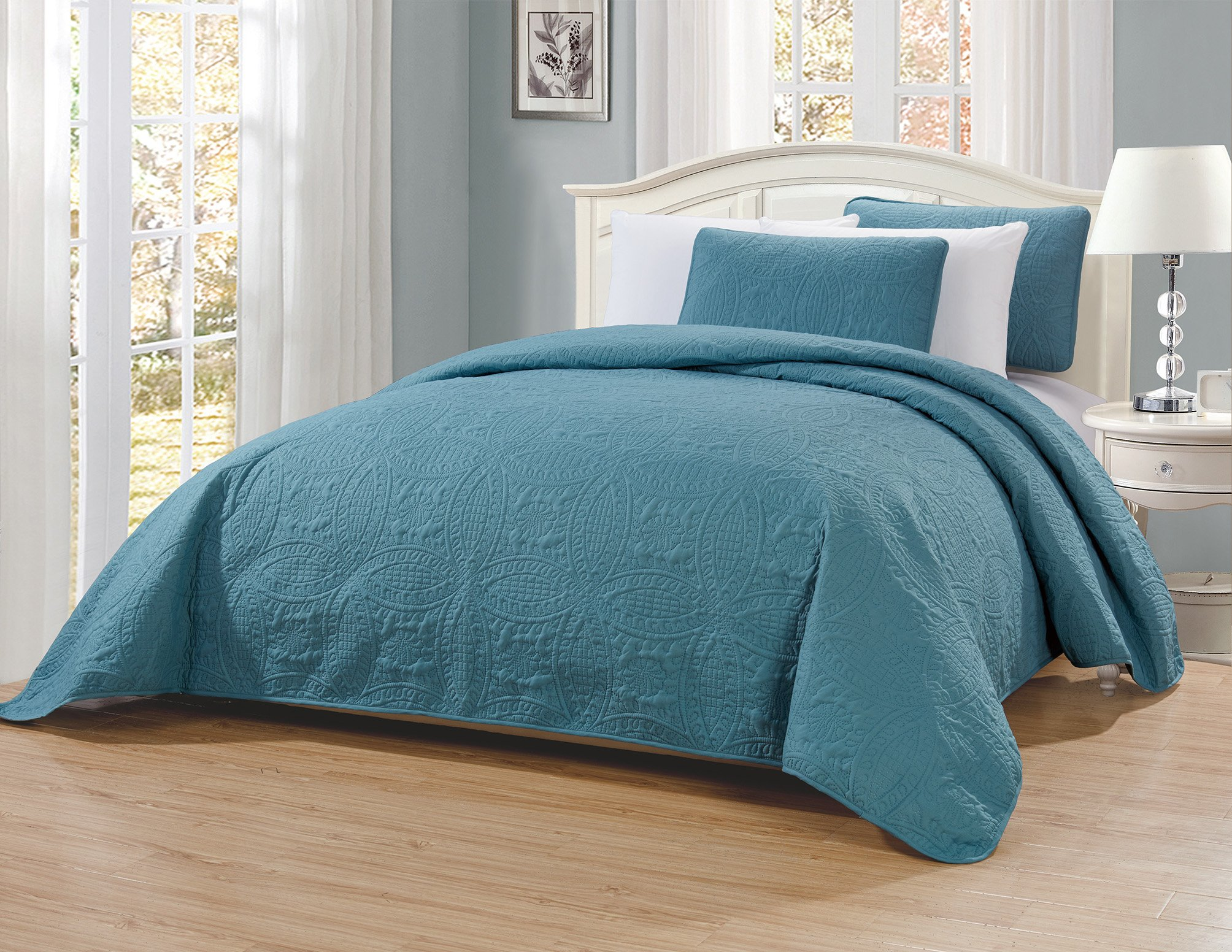 MK Home Mk Collection 3pc Full/Queen Solid Embossed Bedspread Bed Cover Over Size Spa Blue New