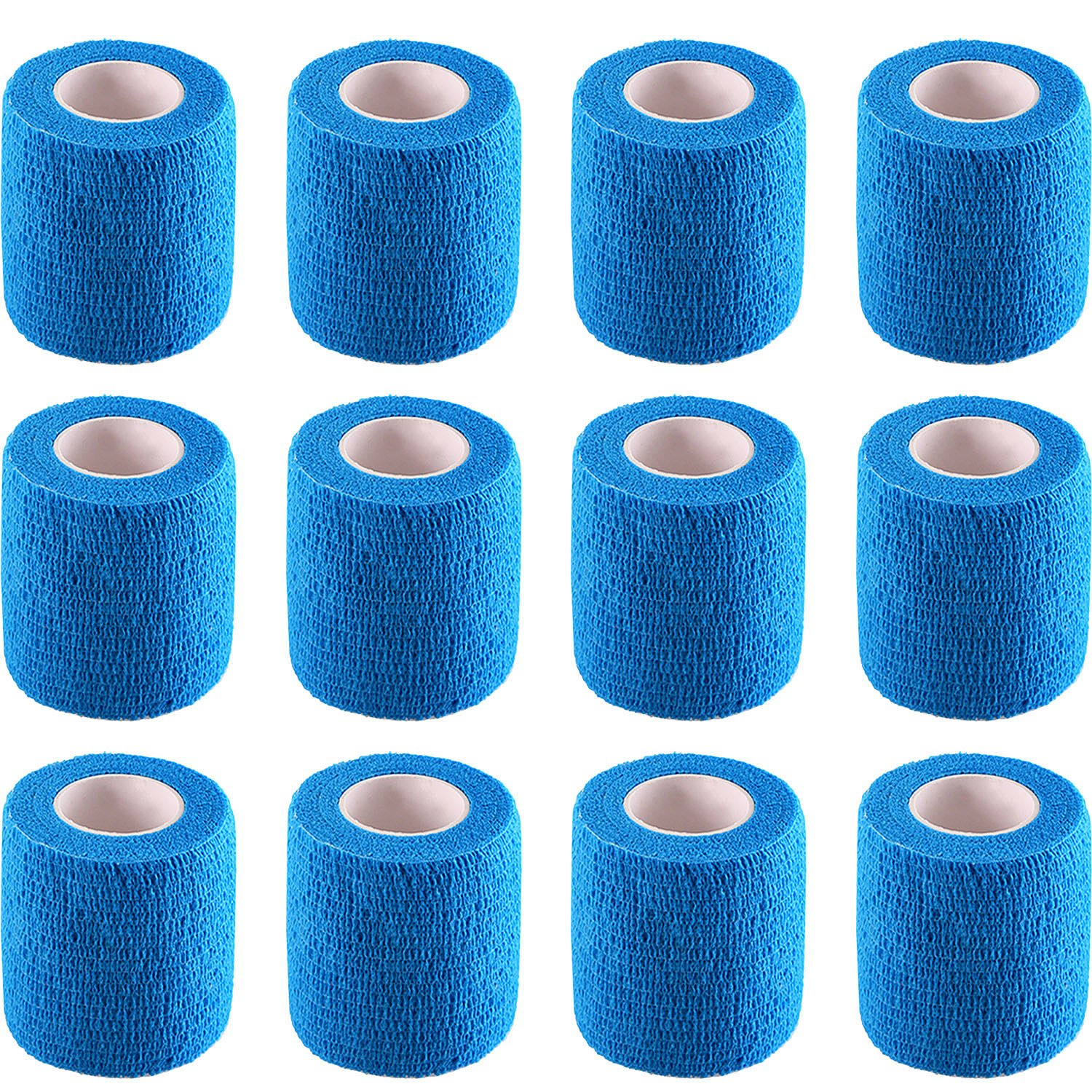 Pangda 12 Pieces Adhesive Bandage Wrap Stretch Self-Adherent Tape for Sports, Wrist, Ankle, 5 Yards Each (2 Inches, Blue)