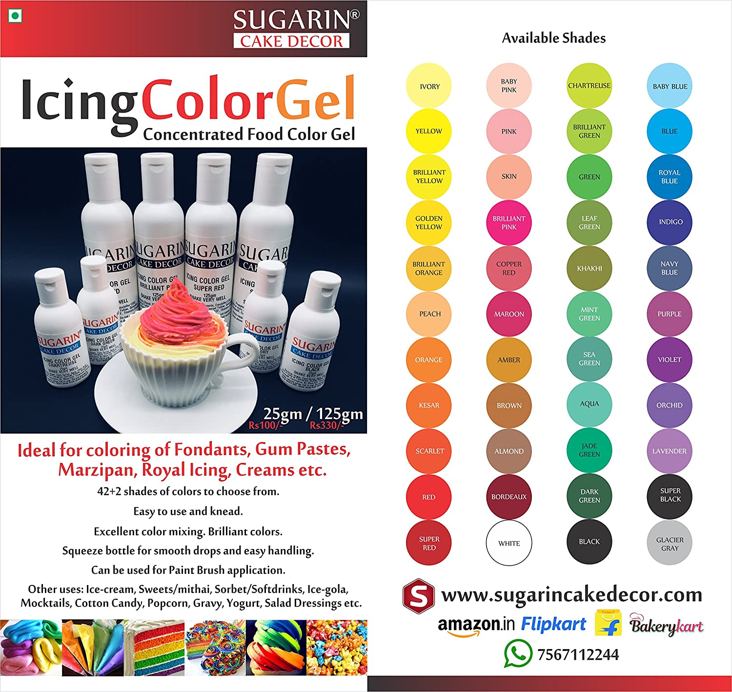 Sugarin Icing Color Gel For Fondant, Red, 25 Gram Amazonin
