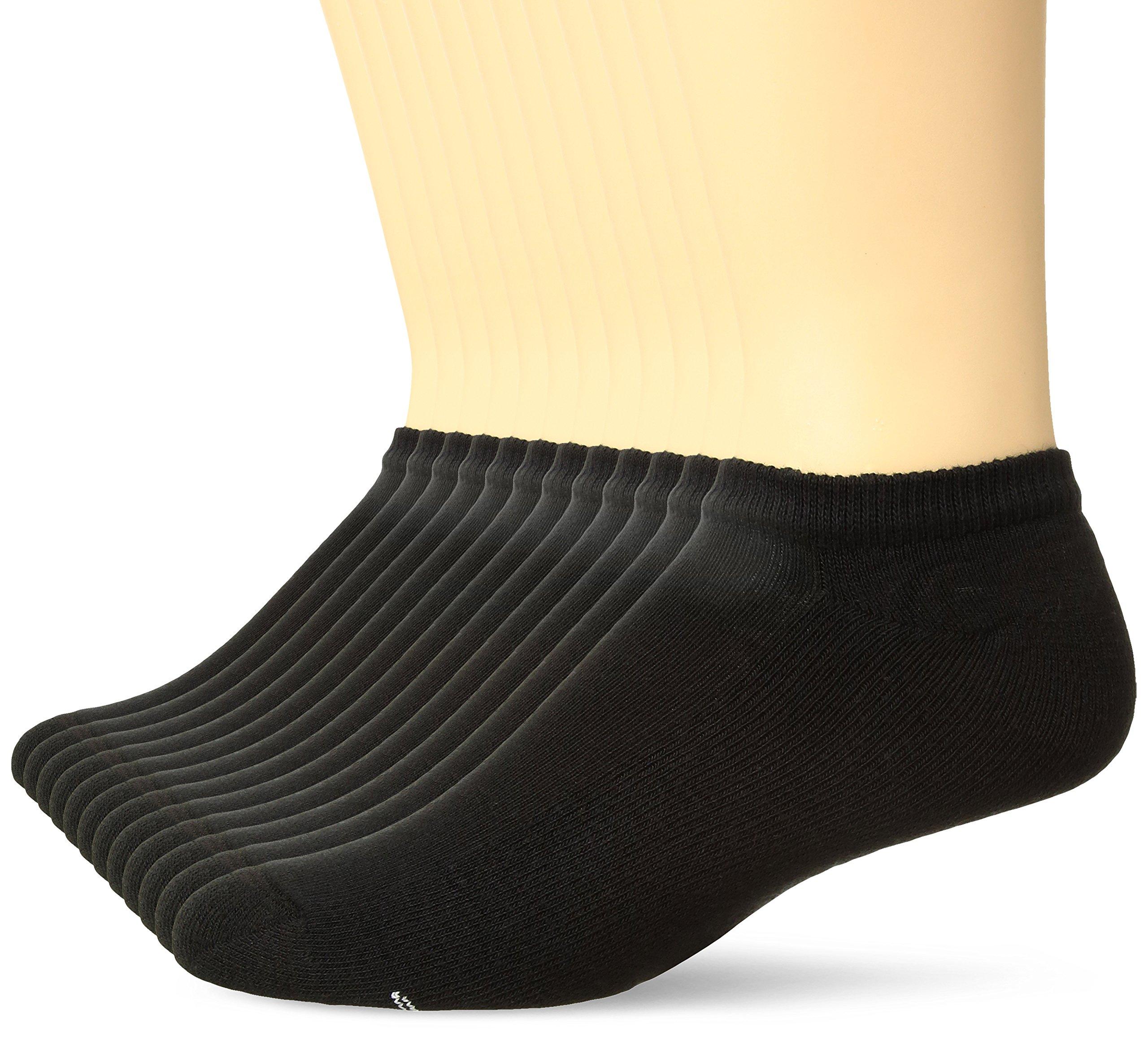 Hanes Men's Active Cool 12-Pack No Show Socks, Black, 6-12 US Shoe Size/10-13 US Sock Size
