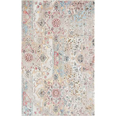 Unique Loom Basilica Collection Traditional Bohemian Colorful Vintage Beige Area Rug (5' x 8')