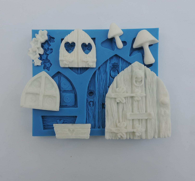Silicona Sugarcraft Mold moldes Toppers Para Cupcakes Decoración para puerta y ventanas (80grams) por mouldart: Amazon.es: Hogar