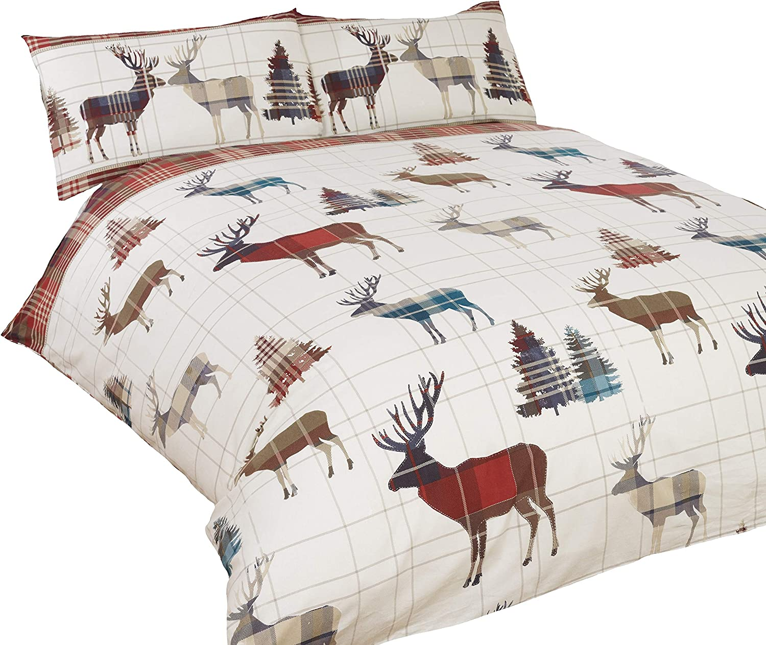 CATHERINE LANSFIELD STAG TARTAN DUVET COVER SET REVERSIBLE DOUBLE /& KING SIZE