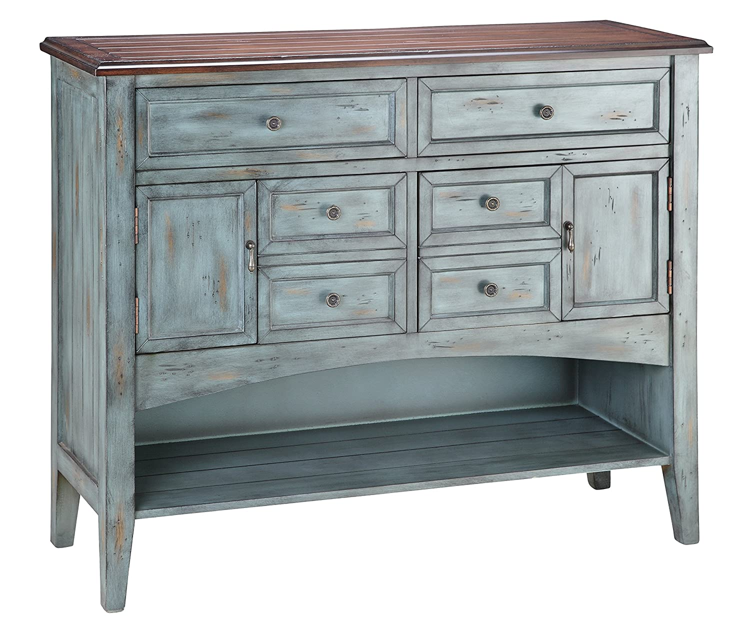 Amazon.com   Stein World Furniture Hartford Buffet/Server, Distressed  Moonstone Antique Blue/Wood Tone   Buffets U0026 Sideboards