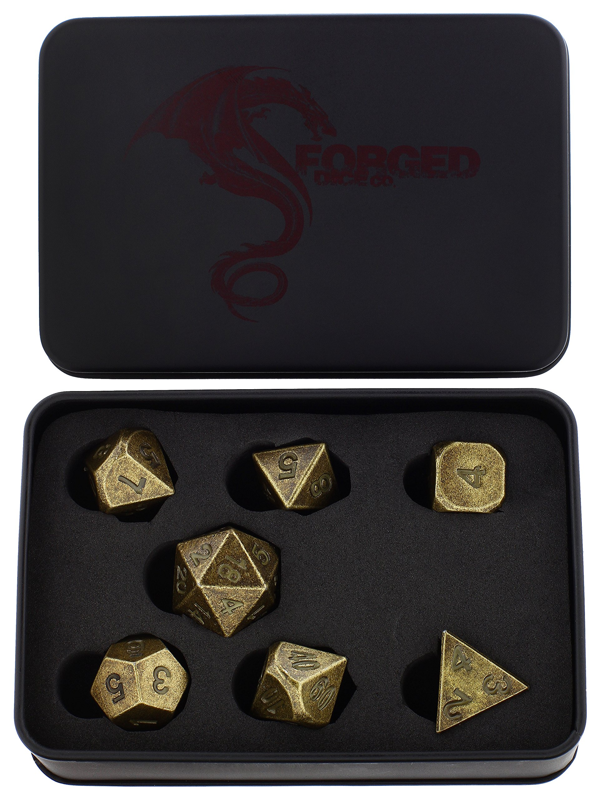 Forged Dice Co. Metal Dice Compatible with RPG games like Dungeons and Dragons, DnD, and Pathfinder (Thieves Gold Set of 7 Polyhedral w/ Tin, Set of 7 Polyhedral w/ Tin)