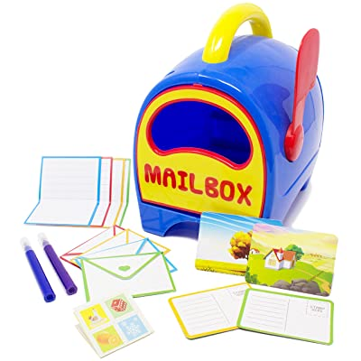 Boley Kids Toy Mailbox for Toddlers and Children - Educational Toy Mailbox with Letters, Postcards and Stamp Sheets - Perfect Play Set for Hours of Pretend Play and Learning Development Fun!: Toys & Games