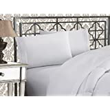 Elegant Comfort Luxurious & Softest 1500 Thread Count Egyptian Three Line Embroidered Softest Premium Hotel Quality 4-Piece Bed Sheet Set, Wrinkle and Fade Resistant, King, White