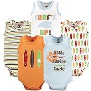 Luvable Friends Unisex Baby Sleeveless Cotton Bodysuits, Surfer 5 Pack, 12-18 Months (18M)