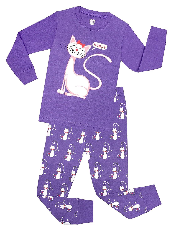 shelry Little Girls Cat Pajamas Toddler Sleepwear Children Cotton Christmas PJs Pants Set