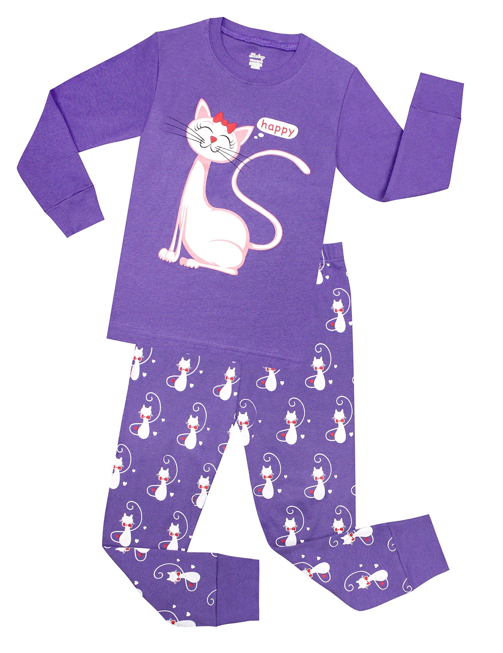 Little Girls Cat Pajamas Toddler Sleepwear Children Cotton Christmas PJs Set Size 12 Years