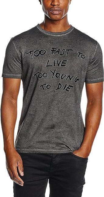 Antony Morato T Shirt Stampa Too Fast Camisa, Negro, S para ...