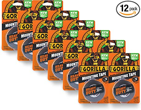 "Gorilla 6055001 Heavy Duty Mounting Tape 1/"" x 60/"" Black Double-Sided"