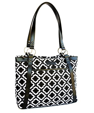 Amazon.com: Kailo Chic Casual Laptop Tote Bags (Black and White ...
